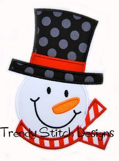Frosty Applique design Machine Embroidery Design Snowman