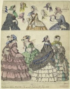 heaveninawildflower:  'The Newest Fashions for July 1856' NYPL...