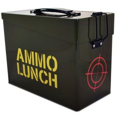 Make sure your packed lunch gets the protection it deserves with this quite brilliant Ammo Lunch Box. Based on the design of an old style ammunition crate, the Ammo Lunch Box is sure to warn away any potential suitors that have been eyeing up y Lunch Boxes For Men, Cool Lunch Boxes, Sac Lunch, Lunch Bags, Ammo Cans, Lunch Cooler, Gifts For Photographers, Gifts For Boys, 1 Piece