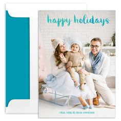Vertical Blue Ombre Holiday Photo Cards