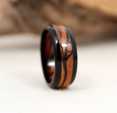 Ebony Spalted Maple Wooden Ring by WedgewoodRings on Etsy, $65.00
