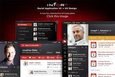 UI + UX design for Infor. An enterprise-based social application designed by The Skins Factory.