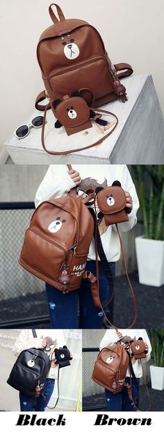 eb7f67257e4c Cute Girl's PU Bear Printing Gift Bear Head Flap Small Shoulder Bag Large  Animal School Backpack