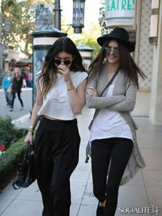 Kylie Jenner and Kendall Jenner arrive at The Grove in Los Angeles, CA.