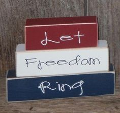 Let freedom ring 4th of july school sign home decor military patriotic mini stacker wood blocks summer. $8.00, via Etsy.