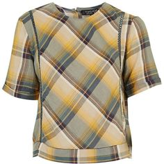 TopShop Mustard Check Tee ($30) ❤ liked on Polyvore featuring tops, t-shirts, relaxed fit t shirt, cotton tees, checkered top, mustard top and brown t shirt