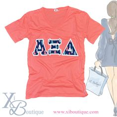 How cute is this coral unisex Alpha Xi Delta v-neck with colorful feather sewn-on letters!! Get one today at Xi Boutique!!