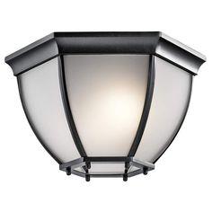 Kichler 9886S Signature 2 Light Outdoor Flush Mount Ceiling Fixture with Satin E
