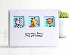 The Card Grotto: Under The Weather. COPIC MARKERS: Mouse - W5, W3, W1, W0, R12, R00. Hot water bottle & cushion - V25, V22, V20. Plaster - E13, E02. Giraffe - Y38, Y19, Y15, YR12, E30, E59, E57, E55. Blanket - R29, E24, E22. Thermometer - C1. Bear - E39, E35, E33, E31, R12. Blanket - BG23, BG13, BG11. Backgrounds - B00, B000, B0000.