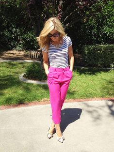 Love. Maybe not bright pink for me but the style of the pants and fit are fantastic. And stripes are always right. And in have craved those Steve Madden pumps since I saw them in emerald (last season) but I adore the nude too