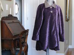 Cotton chenille velvet swing style coat by DATChameleon on Etsy Victorian Coat, Swing Coats, Fur Coat, Velvet, Retro, Cotton, Jackets, Clothes, Awesome