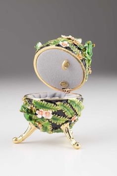 Green Faberge Egg with frogs Handmade Trinket Box by KerenKopal