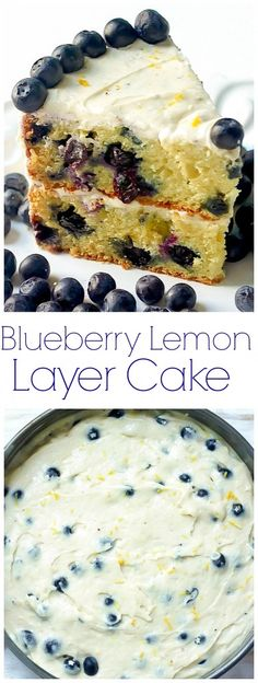 Blueberry Layer Cake with Lemon Buttercream Frosting - this soft, fluffy cake is loaded with bright lemon and blueberries!