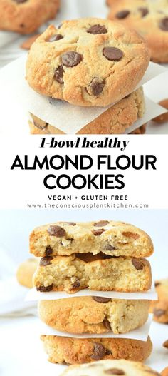 These almond flour chocolate chip cookies are healthy, chewy, vegan, gluten-free and paleo chocolate chips cookies made with almond flour Paleo Dessert, Dessert Sans Gluten, Gluten Free Desserts, Dessert Recipes, Healthy Gluten Free Snacks, Cookie Recipes, Cookies Sans Gluten, Almond Flour Cookies, Almond Flour Recipes
