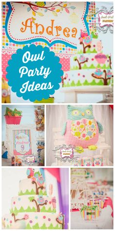 This cute Owl themed girl birthday party included a gorgeous cake and dessert table! See more party planning ideas at CatchMyParty.com!