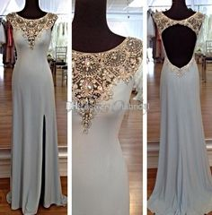 Wholesale Evening Dresses - Buy Vintage Evening Dresses 2014 Open Back Jewel Neckline Long A Line Sexy Side Slit Luxury Crystal Beading Gorgeous Dress for Party E256, $138.02 | DHgate
