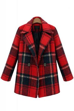 Love Plaid! Love Red! Bright Red Plaid Double-Breasted Lapel Long Sleeve Tweed Winter Coat