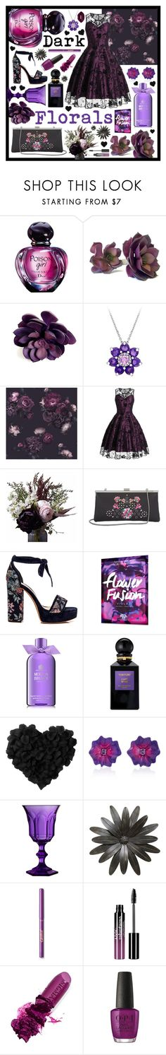 """Dark Florals"" by beanpod ❤ liked on Polyvore featuring Christian Dior, Laura Ashley, Abigail Ahern, Calvin Klein, Origins, Molton Brown, Tom Ford, Sabbadini, Mario Luca Giusti and Charlotte Russe"