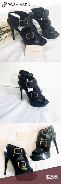 "BURBERRY Black Leather Platform Heels Shoes 39 LIKE NEW! Burberry Black Leather Platform Heels Shoes 39 with gold/Bronze Metal buckle color. Approx 5"" Heel 1.25"" front platform Gorgeous!  Like New!!! Authentic. Comes with Dust Bag & pamphlet. Will include box shown in photo. Burberry Shoes Heels"