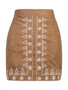 Brown Faux Suede Embroidery Pattern Pencil Skirt