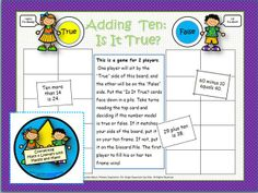 FREE board game for 1.NBT.5, adding and subtracting ten.