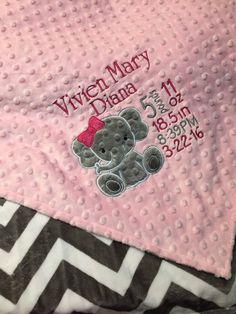 Elephant Blanket, Elephant Applique, Minky Baby Blanket, Pink Elephant, Elephant Room, Personalized Baby Blankets, Personalized Baby Gifts, Best Baby Blankets, Elephant Design