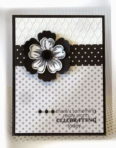 Stampin' Up! ... handmade card from Me, My Stamps and I ... black, white and gray ... layered flower ... polka dot papers ... embossing folder texture ... like it!
