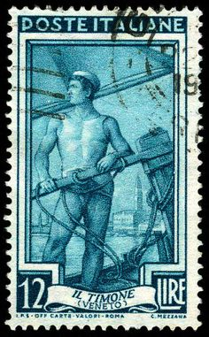1950 Italy postage stamp: Il Timone (the helm). via web expedition 18
