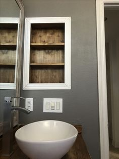 Bathroom Shelf Nook. No Medicine Cabinet. Remove Medicine Cabinet. #bathroom