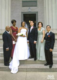 The Nguyen Family - Mobile, AL. Interracial couple wedding photo with parents. Love. Family love. In-laws.