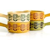 Set of four Japanese made coloured soup bowls with handles