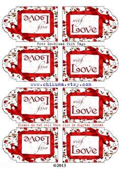 FREEBIE Free Printable Gift Tags WITH LOVE Digital por ChikUna