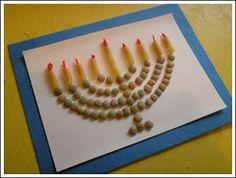 Hanukkah Menorah made with pasta! Cute craft
