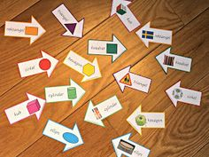 En parövning med former. Card Games For Kids, Preschool, Shapes, Education, Math, Blog, Cards, Reggio, Children