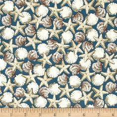 Seaside Shells Blue from @fabricdotcom  Designed by Charlene Audrey for Quilting Treasures, this nautical themed cotton print fabric is perfect for quilting, apparel and home décor accents. Colors include black, blue, brown, grey, beige and white.
