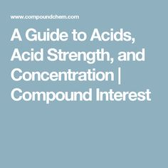 A Guide to Acids, Acid Strength, and Concentration | Compound Interest