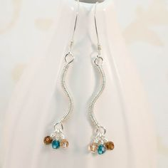 Earrings Sterling Silver Curve Coil Blue Brown by JewelrybyChar,
