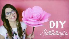 Como hacer una rosa de papel / Florecita enorme de papel crepe - Habloba...