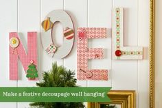 Easy NOEL Christmas wall hanging using wood letters