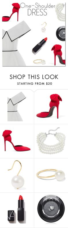 """Party Style: One-Shoulder Dress"" by danielle-487 ❤ liked on Polyvore featuring Elizabeth Kennedy, Kenneth Jay Lane, Aurélie Bidermann, Sophie Bille Brahe, NARS Cosmetics, Lancôme and dress"