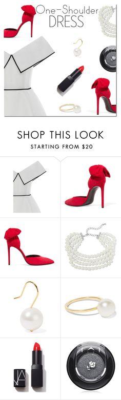 """Party Style: One-Shoulder Dress"" by danielle-487 ❤ liked on Polyvore featuring Elizabeth Kennedy, Kenneth Jay Lane, Aurélie Bidermann, Sophie Bille Brahe, NARS Cosmetics, Lancôme and dress"