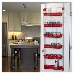 Household Essentials Over-the-Door 6 Basket Organizer has 6 baskets to hold all of your kitchen or bathroom needs. The organizer assembles easily, fitting together with snap locks. Designed to stabilize the unit and help protect your door. Kitchen Pantry, New Kitchen, Kitchen Decor, Kitchen Cabinets, Kitchen Ideas, Pantry Ideas, Kitchen Layout, Kitchen Utensils, Kitchen Gadgets