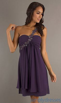 Short One Shoulder Plum Dress at SimplyDresses.com