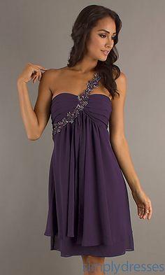 Short One Shoulder Plum Dress at SimplyDresses.com