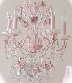 Vintage Pretty in Pink Crystal Chandelier by noreen