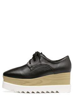 Wedges by BORNTOWEAR. Black Square Toe Wedge Heel Oxfords