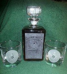 Amazing offer on Personalized Square Masonic Whiskey Label Decanter - Hand Sand Etched online - Greatstylegreatshop Whiskey Label, Whiskey Decanter, Hiram Abiff, Masonic Symbols, Freemason Symbol, Pint Of Beer, Engagement Gifts, Liquor, Perfume Bottles