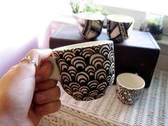 Zentangle Coffee or Tea Mugs Set of Four by SwagInACompany on Etsy