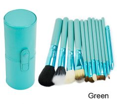 Professional 12PCS Cosmetic Makeup Brush Set Make-up Tool With Leather Cup Holder 4Colors #Dresslink#fashion