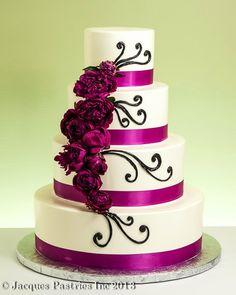 Fushia and white cake